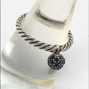 DAVID YURMAN Black Diamond Dangle Ball Ring